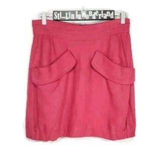 New M MISSONI Linen Ball Skirt Pink Red Sz 10